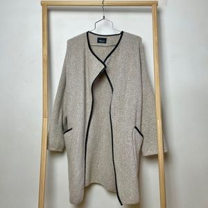 Zara Knit Cream Sweater Coat w Leather Pipping S